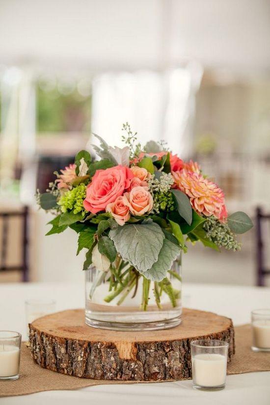Centro de mesa para boda sencillos