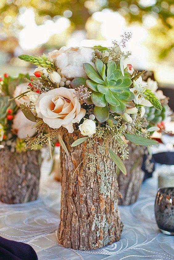Centros de mesa para boda sencillos Rústicos