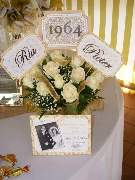 50 Aniversario De Bodas Decoración En Casa Para Salones De