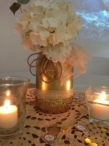 centros de mesa para bodas de oro faciles 5