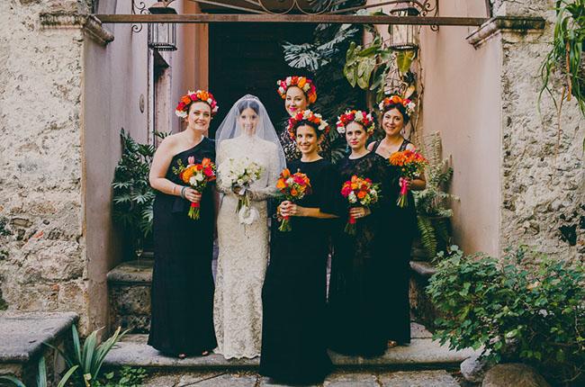 Vestidos de damas para una boda mexicana