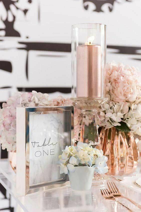 centros de mesa para boda rosa gold