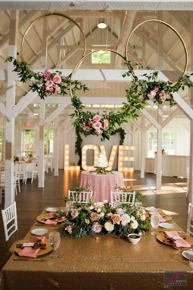 decoracion para boda en tonos rosa gold en tendencia este 2019