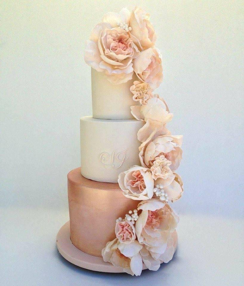 pastel de novia para boda rosa gold