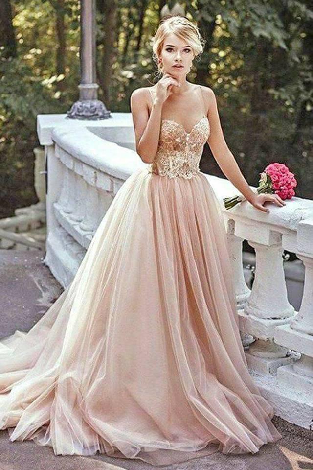 vestido de novia rosa gold