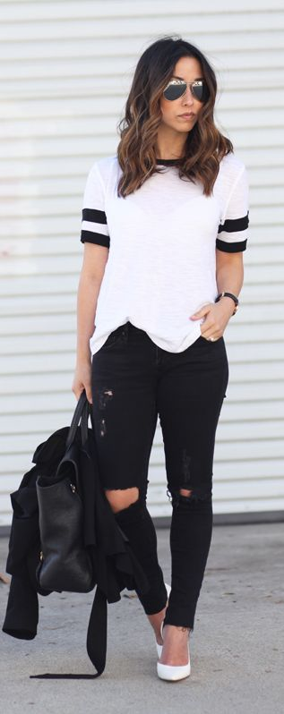 impactful black and white monochrome outfit
