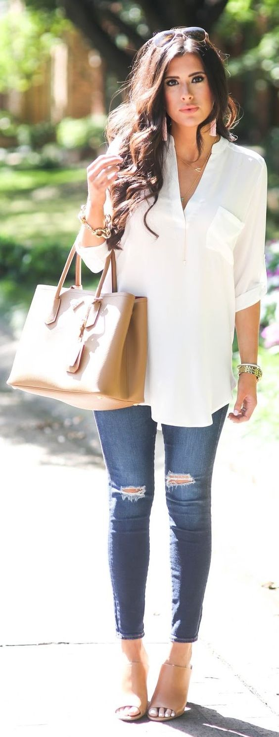 Jeans and white shirt outfit for White pants denim shirt