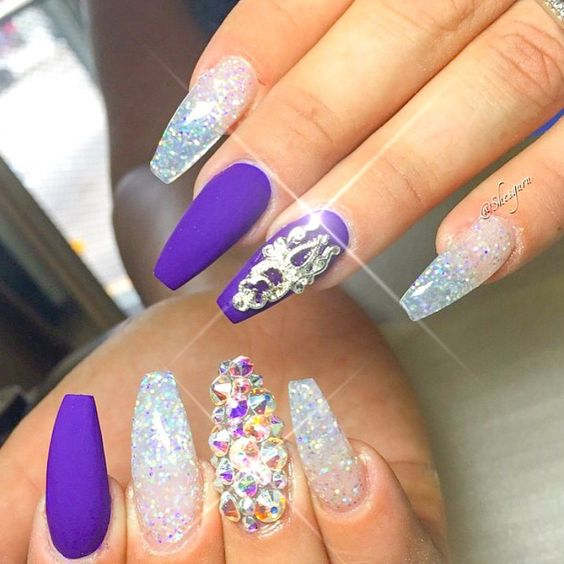 Squoval Silvers: Royal Blue Nails Designs (11)