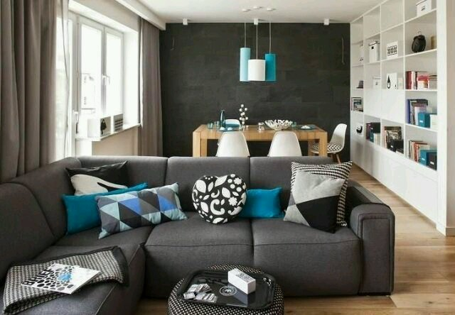 Wohnzimmer Dekoration Rot Grau