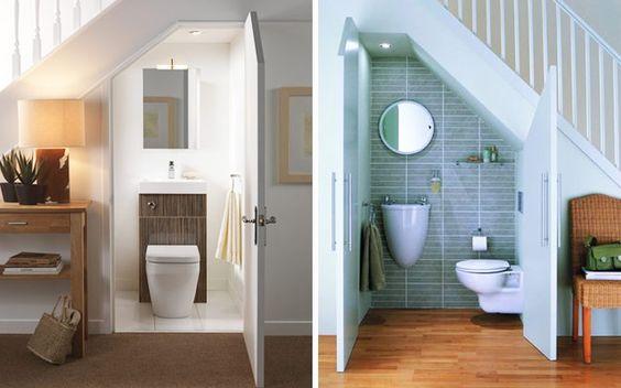 34 Bathroom designs under the stairs