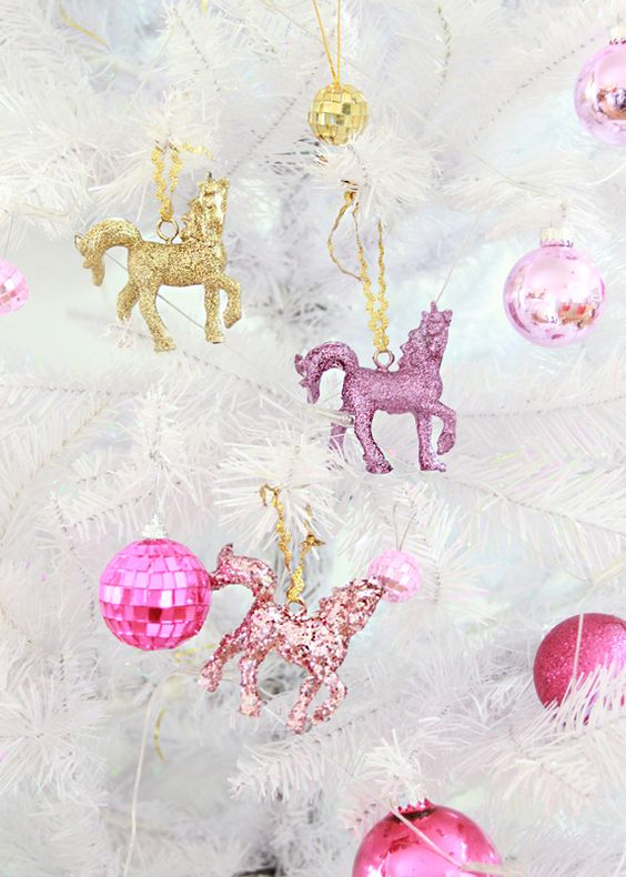 a white christmas pine pink spheres and unicorns in pastel colors come to decorate this beautiful christmas tree - Unicorn Christmas Decorations