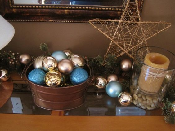 Decoration Ideas For Christmas In Teal With Copper (9