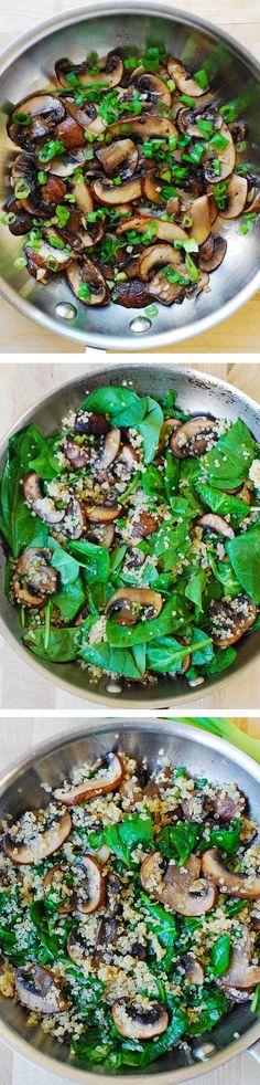 Espinaca Champiñones y Quinoa