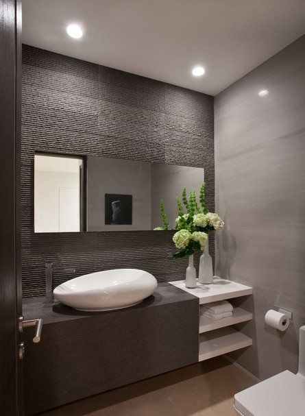 Baño Chocolate Blanco:Modern Powder Room Bathroom Ideas