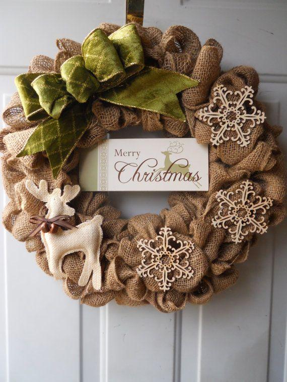 4aef05ff2 ... una corona de navidad con flores de tela (2) | Corona navideña hecha  con yute Dale Detalles Como hacer una corona de navidad con flores de tela  (1)