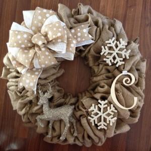 Como hacer una corona de navidad con flores de tela