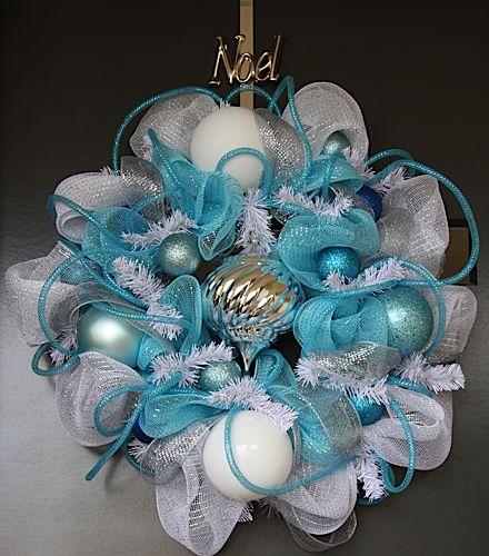 Corona navidad plata azul decoracion de interiores for Arbol navidad turquesa