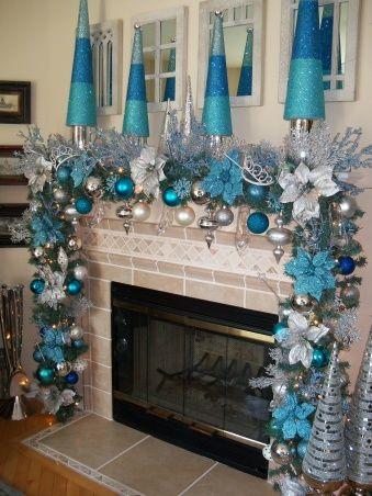 Decoracion chimenea navidad azul plata decoracion de for Casa de cocina la plata