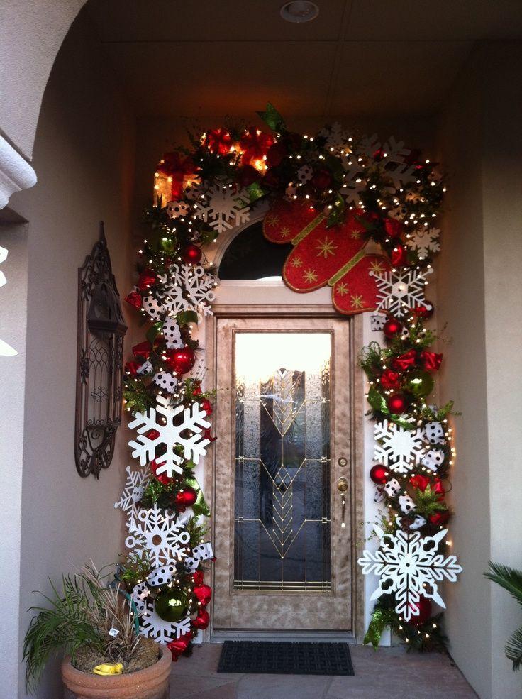 Puerta Decorada Copos De Nieve