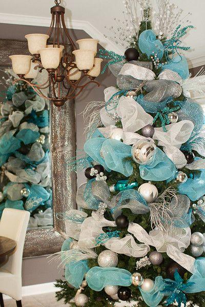 Como decorar un arbol de navidad azul plata y blanco - Como decorar mi arbol de navidad blanco ...
