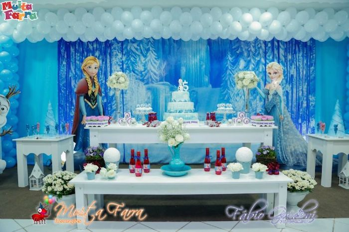 decoracion con globos frozen