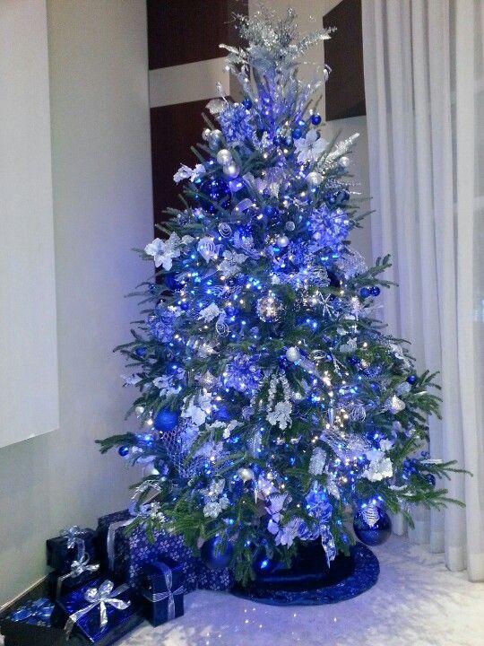 arboles de navidad 2017 decorados en azul