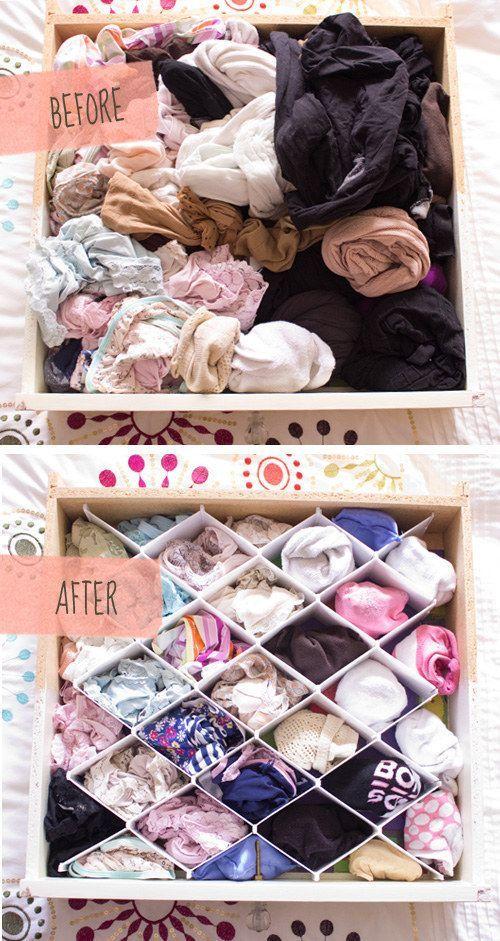 Organizador de ropa interior para cajones