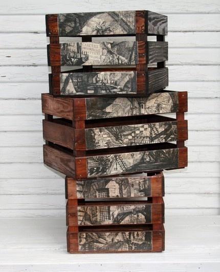 Como reciclar cajas de madera decoracion de interiores - Cajas madera para decorar ...