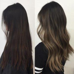 Balayage highlights en cabello largo