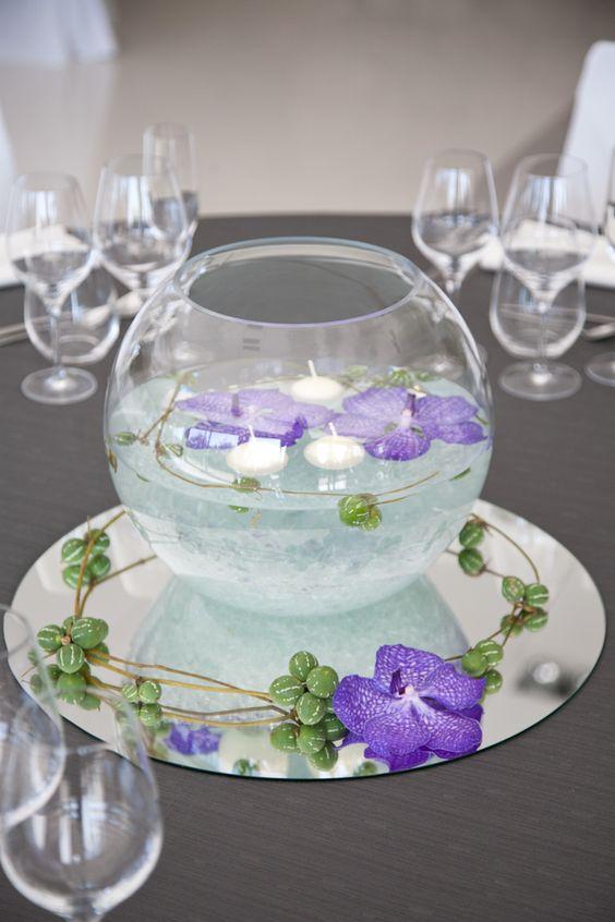 Centros de mesa de 15 anos con peceras 1 - Fotos de mesas decoradas ...