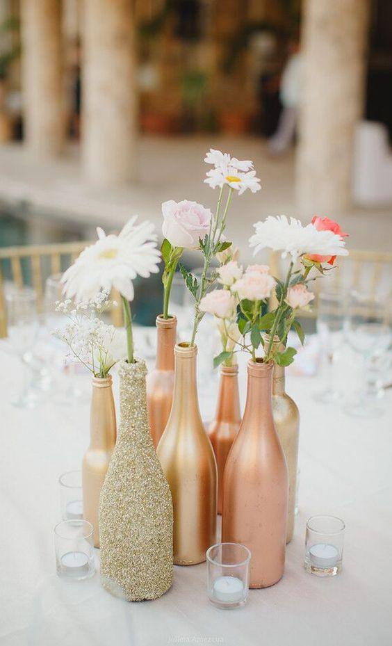 Centros de mesa de xv años con botellas