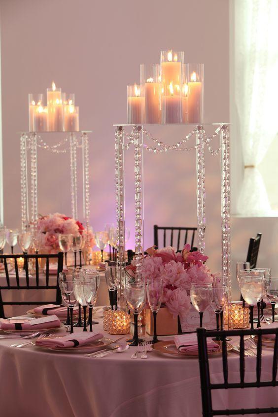 Ideas para centros de mesa de xv a os fotos y m s for Mesa cristal y dorado