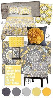 Ideas para decoracion moderna de Gris y Amarillo