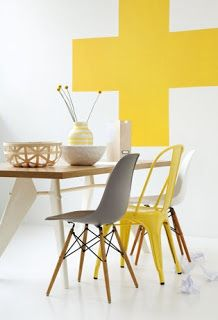 Ideas para decoracion moderna de Gris y Amarillo