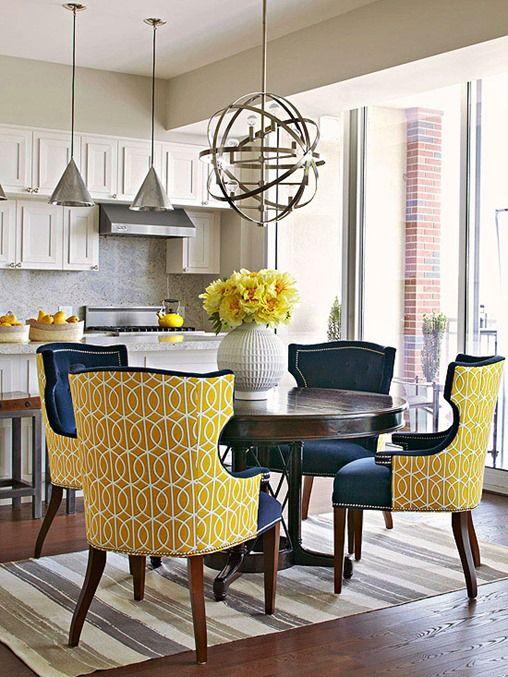 decoracion de comedores gris amarillo