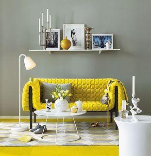 decoracion de salas gris y amarillo