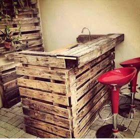 ideas reciclar pallets tarimas en Mini bar