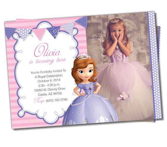 Diseños de invitaciones para cumpleaños de princesita Sofia