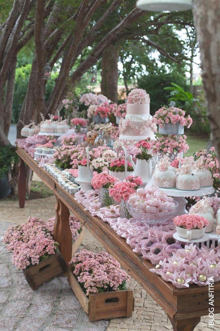 Decoracion de mesa de postres con pastel para fiesta de xv - Decoracion de mesas para fiestas ...