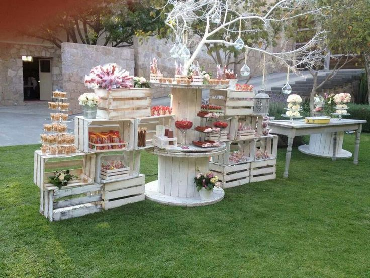 Decoracion de mesa de postres para fiesta de xv anos en el - Jardines decorados para fiestas ...