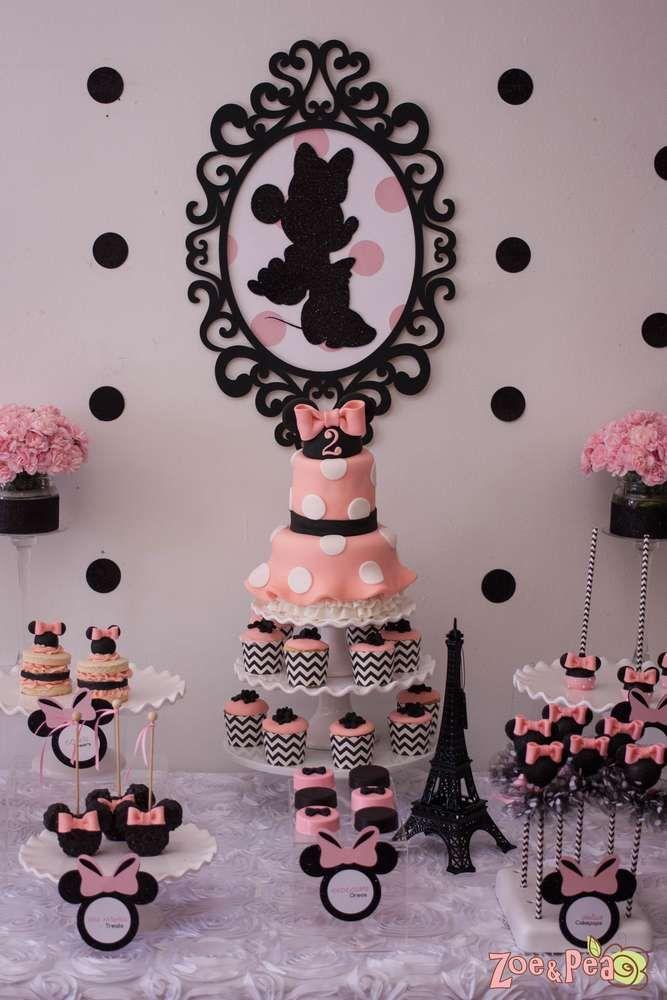 Decoracion Minnie Rosada ~ Ideas para fiesta de minnie mouse rosa y negro  Curso de organizacion