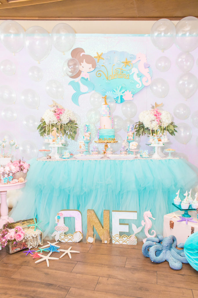 fiesta de sirena para 1 año de niña