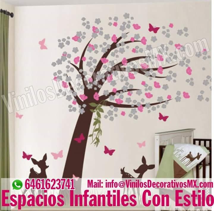 Vinilos infantiles de arboles decoracion de interiores for Vinilos habitacion nina