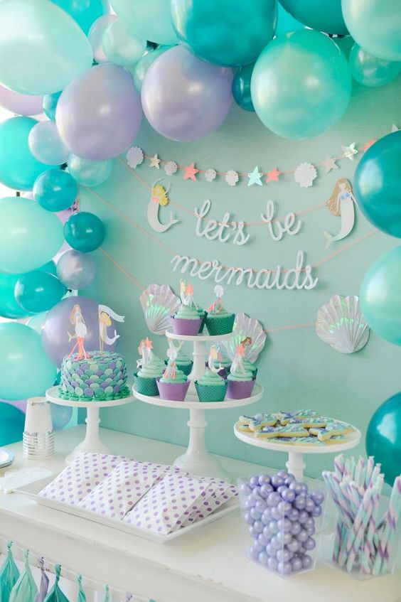 Como decorar una mesa principal con tema de la sirenita 3 - Como decorar mesas para fiestas ...