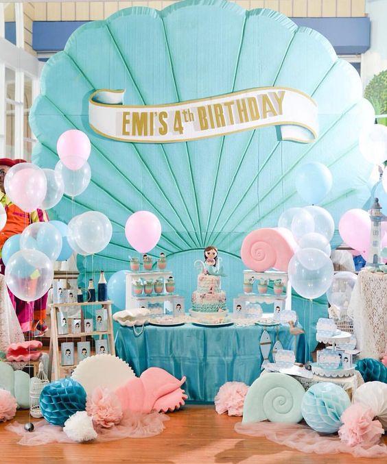 Fiesta del tema de la sirenita todo para tu fiesta for Decoracion fiesta infantil nina