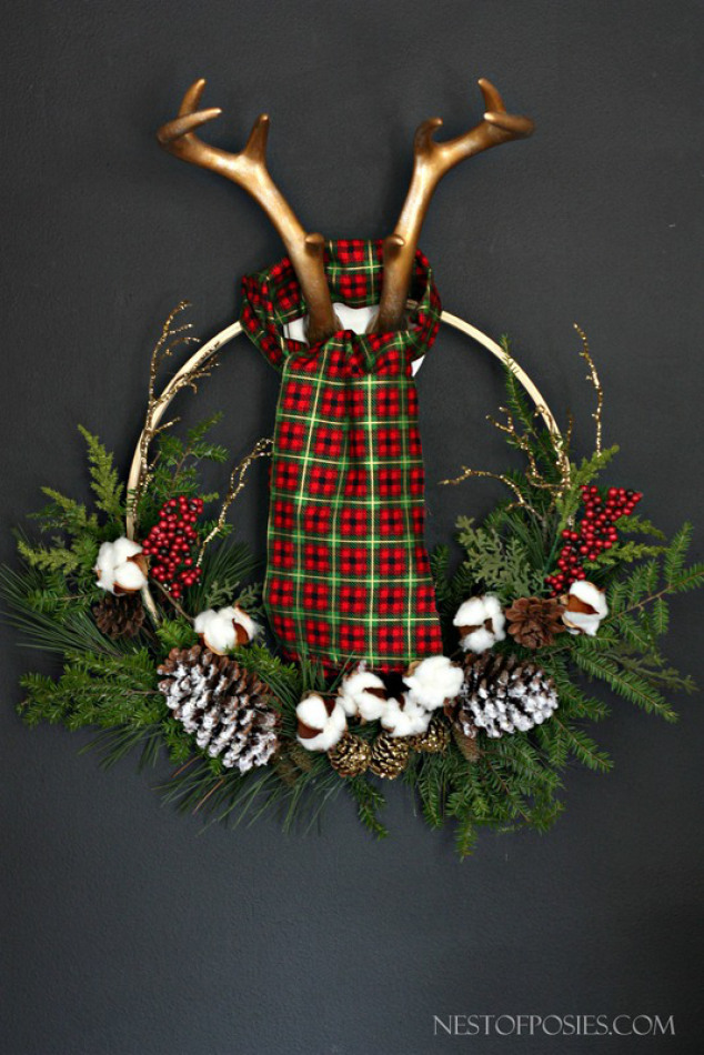 holiday christmas antler wreath - 534×800