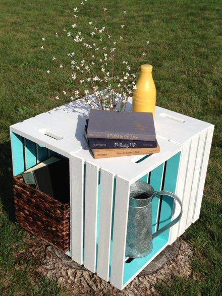 Cajas de madera reutilizar y decorar decoracion de for Mesa con cajas de fruta