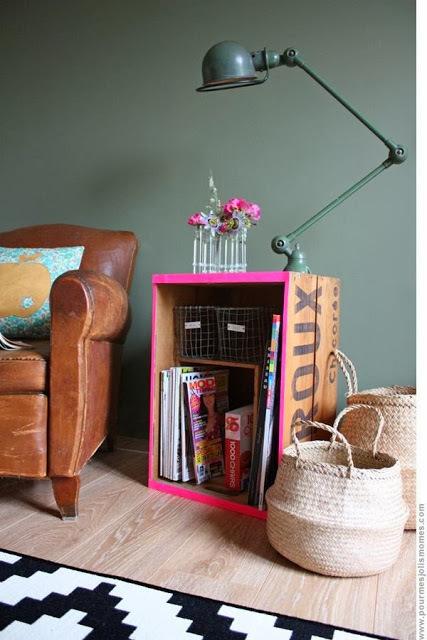 Cajas de madera reutilizar y decorar for Decorar muebles con tela