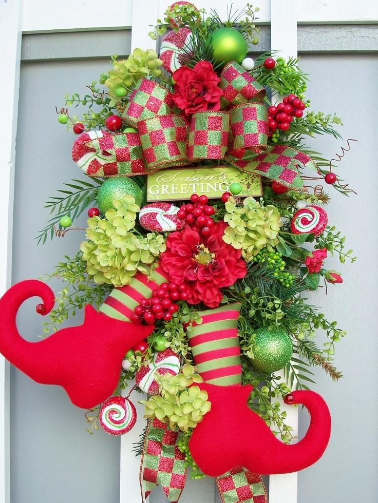 Ideas decorar puerta navidad diy 32 decoracion de for Adorno navidad puerta entrada