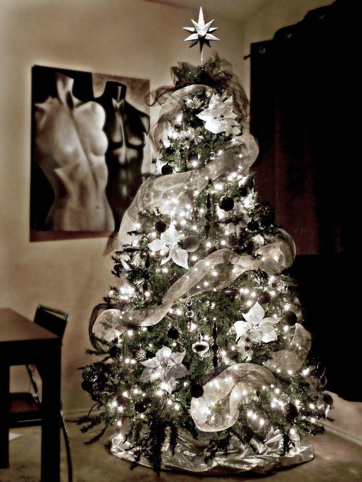 Ideas para decoracion de navidad blanco y negro curso de - Decorar arbol de navidad blanco ...